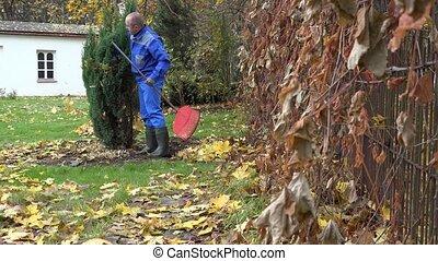 man in blue clothes work in autumn garden. 4K