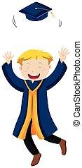 Man in blue graduation gown throwing cap