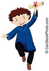 Man in blue graducation gown