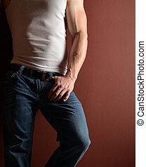 Man in blue jeans