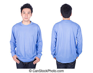 man in blue long sleeve t-shirt isolated on white background