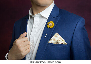 man in blue suit, brooch, handkerchief - Man in blue suit...