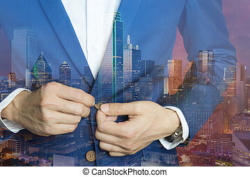 man in blue suit, doing button