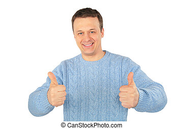 man in blue sweater makes gestures by fingers