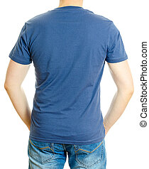 Man in blue t-shirt. Isolated on white background.