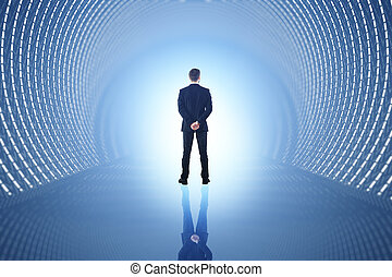 Man in blue tunnel