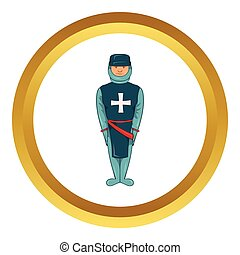 Man in blue uniform vector icon