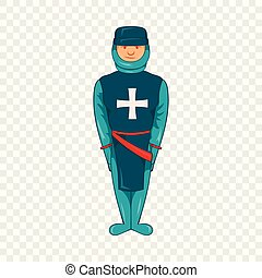 Man in blue uniform with cross on his chest icon
