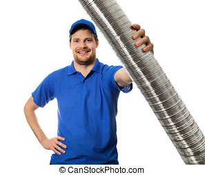 man in blue uniform with flexible aluminum ducting tube in hand