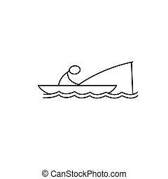 Man in Boat Fishing Icon