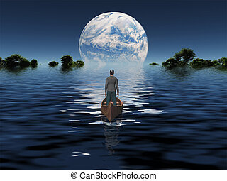 Man in boat with blue Planet on the horizon