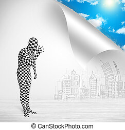 Man in body suit escaping from city to nature concept