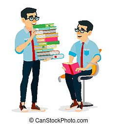 Man In Book Club Vector. Carrying Large Stack Of Books. Studying Student. Library, Academic, School, University Concept. Isolated Flat Cartoon Illustration
