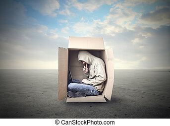 Man in box