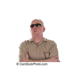 Man in Brown Shirt and Sunglasses Looking Up to Right