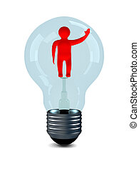 man in bulb on white background. 3D image