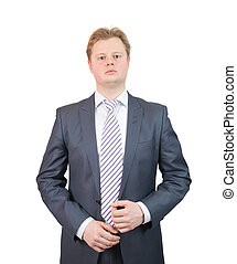 man in business outfit, isolated over white