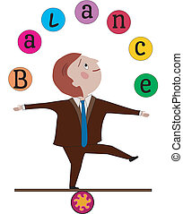 "Man in business suit balancing, juggling the word ""Balance"""