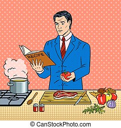 Man in business suit cooking food pop art vector