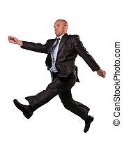 man in business suit flies
