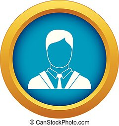 Man in business suit icon blue vector isolated