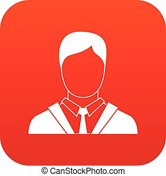 Man in business suit icon digital red