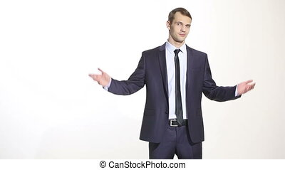 man in business suit isolated on white background. open...