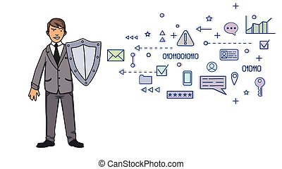 Man in business suit protecting himself with a shield from digital and network symbols. Personal data protection. GDPR, RGPD. Concept vector illustration on white background. Flat style. Horizontal.