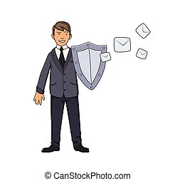 Man in business suit protecting himself with a shield from unwanted mail. Spam, antispam protection. Concept vector illustration. Isolated on white background. Flat style.