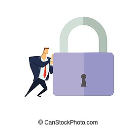 Man in business suit pushing giant padlock. Business and security. Personal data. GDPR, RGPD. General Data Protection Regulation. Flat vector concept illustration. Isolated on white background.