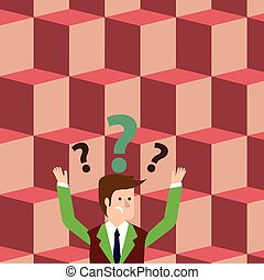 Man in Business Suit Raising Both Arms Upward Looking Confused and Question Marks Above his Head. Creative Background Idea for Informative Presentation, Advisory and Advertisement.