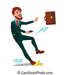 Man In Business Suit With A Briefcase And A Smartphone Slipped On A Banana Peel Vector Flat Cartoon Illustration