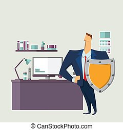 Man in business suit with a shield in front of computer desk. Protecting your personal data. GDPR, RGPD, DSGVO. General Data Protection Regulation. Vector concept illustration. Flat style.
