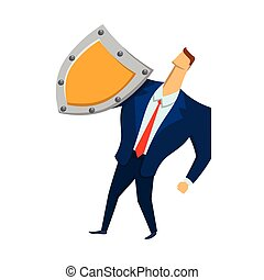 Man in business suit with a shield looking up. Security and protection. Protecting your personal data. GDPR, RGPD, DSGVO. General Data Protection Regulation. Vector concept illustration. Flat style.