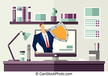 Man in business suit with a shield protecting computer on office desk. Protecting your personal data. GDPR, RGPD. General Data Protection Regulation. Flat vector concept illustration. Horizontal.