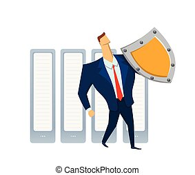 Man in business suit with a shield standing in front of raw of servers. Protecting your personal data. GDPR, RGPD, DSGVO. General Data Protection Regulation. Vector concept illustration. Flat style.