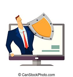 Man in business suit with a shield standing out from computer monitor. Protecting your personal data. GDPR, RGPD, DSGVO. General Data Protection Regulation. Vector concept illustration. Flat style.
