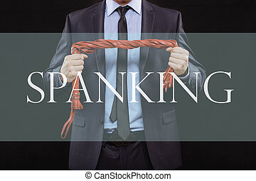 man in business suit with chained hands. handcuffs for sex...