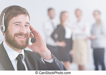 Man in call center