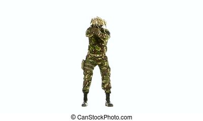 Man in camouflage clothing with a pistol. White backgraund -...