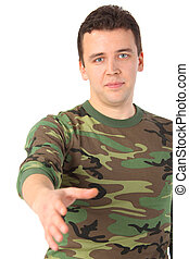 man in camouflage greets