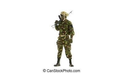Man in camouflage looks around. White backgraund - Man in...