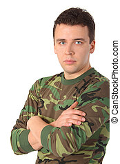 Man in camouflage with crossed hands