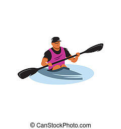 Man in canoe vector sign - Man with paddle and kayak on...