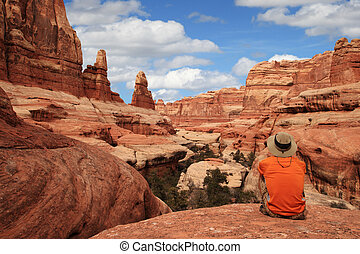 man in canyon