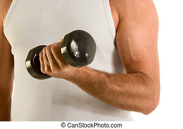 Man in casual wife-bitter a-top work out dumbbell - Close up...