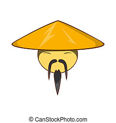Man in chinese conical hat icon, cartoon style - icon in...