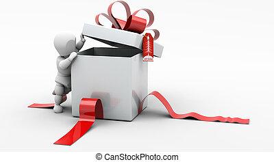 Man in Christmas Gift Box - 3D render of man looking in gift...