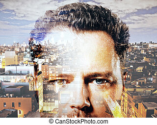 Abstract image of businessman on city background. Double exposure