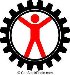 man in cog-wheel - Vector icon of man in cog-wheel